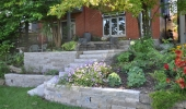 Retaining Walls in Tiered Backyard
