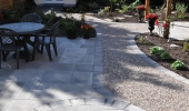 Stone path and gravel.