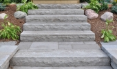 Quarry Stone Steps with Wooden Deck Entrance